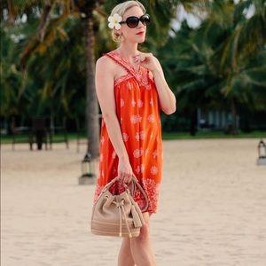 Loft Ole Pom Pom Swing Halter Dress Large Orange